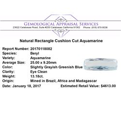13.18 ct.Natural Rectangle Cushion Cut Aquamarine