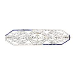 Platinum 1.00 ctw Sapphire and Diamond Brooch