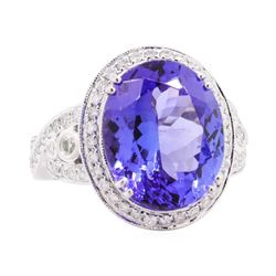 12.53 ctw Tanzanite and Diamond Ring - 14KT White Gold