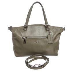 Coach Olive Green Leather Two-Way Handbag