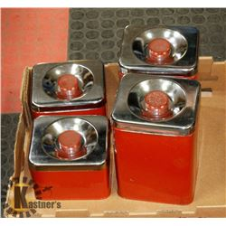 SET OF 4 ANTIQUE CANISTERS; FLOUR, SUGAR, TEA