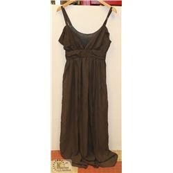 SIZE LARGE BROWN-GREY CHIFFON SUMMER DRESS FLOOR