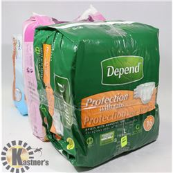 BUNDLE OF DEPENDS, POISE, TENA PADS