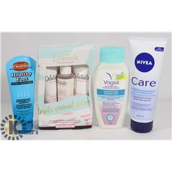 BAG OF FEMININE WASH, FOOT CREAM, AND MORE