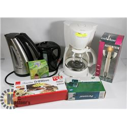 LARGE FLAT OF HOUSEHOLD ITEMS INCLUDING COFFEE