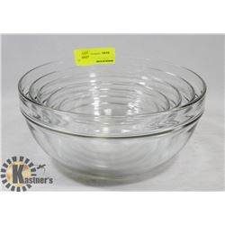 SET OF 5 GLASS MIXING BOWLS