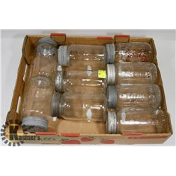 FLA T OF ANTIQUE CROWN BRAND CANNING JARS