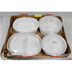 FLAT OF CORNINGWARE DISHES, MOST WITH LIDS
