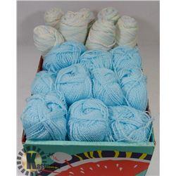 FLAT OF 10 BABY BLUE YARN W/ SATIN THREAD & 7