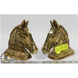 PAIR OF HEAVY BRASS HORSE HEAD BOOK ENDS