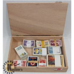 CIGAR BOX FILLED WITH BUNDLED & CATALOGUED STAMPS.