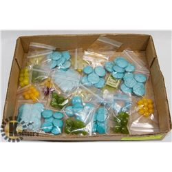 BOX OF CRYSTAL AND TURQUOISE BEADS