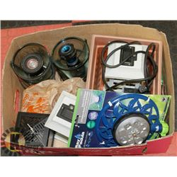 BOX WITH ASSORTED GARDEN ITEMS, LAMPS, POTS,