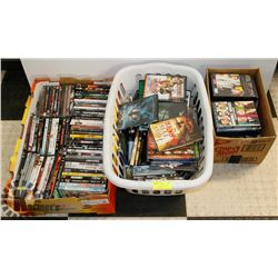3 BOXES OF ASSORTED DVDS,