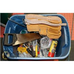 TOTE ASST TOOLS INCL NEW KUNY TOOL BELT.