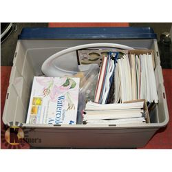 LARGE TUB OF ART SUPPLIES, CRAFTING STAMPS &
