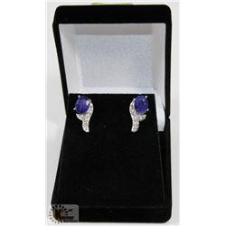 #34-BLUE SAPPHIRE & CZ GEMSTONE EARRINGS