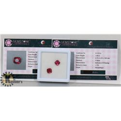 #6-MATCHING PAIR EARRINGS RED RUBY  2.8CT