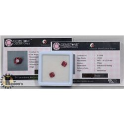 #7-MATCHING PAIR EARRINGS RED RUBY 2.4CT