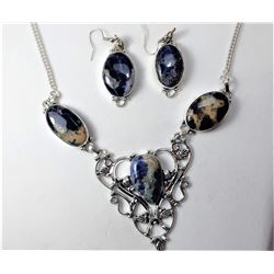12)  SILVER TONE WITH NAVY SODALITE STONE