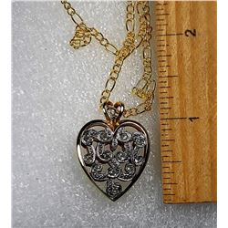 4)  GOLD TONE & SILVER OPEN WORK HEART