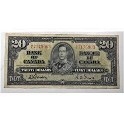 3)  CANADIAN 1937 KING GEORGE $20.00 BILL