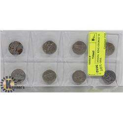 LOT OF 8 CANADA  KING GEORGE VI  5 CENTS COINS