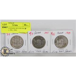 LOT OF 3 CANADA SILVER HALF DOLLARS, 1941, 1942,