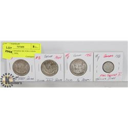 LOT OF 4 CANADA SILVER COINS- 1916 DIME, 1950,