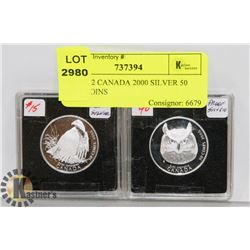 LOT OF 2 CANADA 2000 SILVER 50 CENT COINS