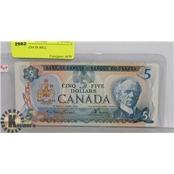 1979 CANADA $5 BILL