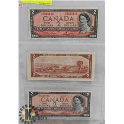 LOT OF 3 CANADA 1954 $2 BILLS