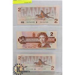 LOT OF 3 CANADA 1986 $2 BILLS