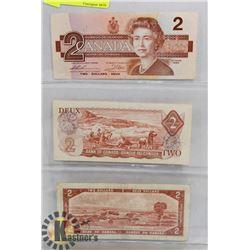 LOT OF 3 CANADA $2 BILLS, 1954,1974,1986