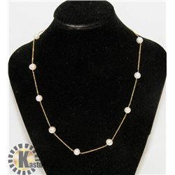 14K YELLOW GOLD & PEARL NECKLACE.