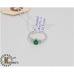 STERLING SILVER EMERALD CZ RING SIZE 6.