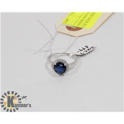 STERLING SILVER BLUE SAPPHIRE CZ RING SIZE 9.