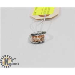 STERLING SILVER CITRINE MARCASITE RING SIZE 6.