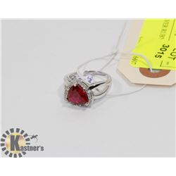 STERLING SILVER RUBY CZ RING SIZE 7.