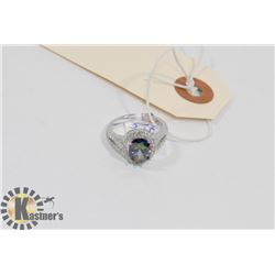 STERLING SILVER RAINBOW TOPAZ RING SIZE 6.