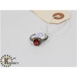 STERLING SILVER RUBY RING SIZE 7.