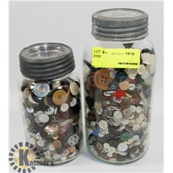 LOT OF TWO ANTIQUE JARS FILLED WITH VINTAGE BUTTONS