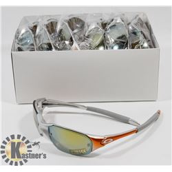 CASE OF ORANGE/ GREY OAKLEY STYLE SUNGLASSES