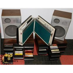 2 CASSETTE STORAGE UNITS WITH CASSETTE TAPES,