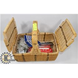 WICKER BASKET FULL OF SEWING AND KNITTING SUPPLIES