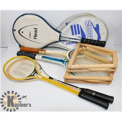 LOT OF 5 RACKETS, 2 SLAZENGER TENNIS RACKETS,