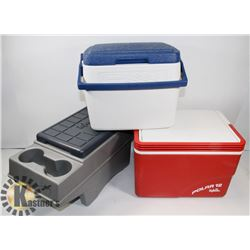 SET OF 3 COOLERS 1 COLEMAN, 2 IGLOO