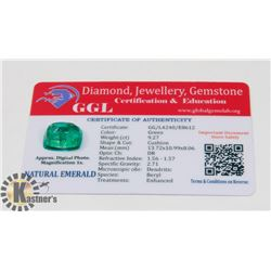 #80-GENUINE EMERALD LOOSE GEMSTONE  9.27CT
