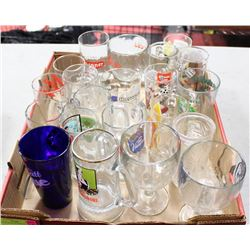 TRAY OF VINTAGE BEER GLASSES