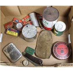 BOX OF VINTAGE TINS AND MORE....